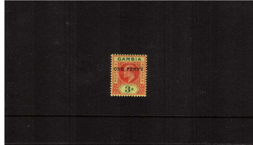 1d on 3/- Carmine and Green on Yellow<br/>