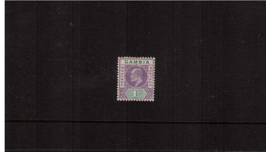 1/- Violet and Green - Watermark Crown CA<br/>A fine and fresh lightly mounted mint single.