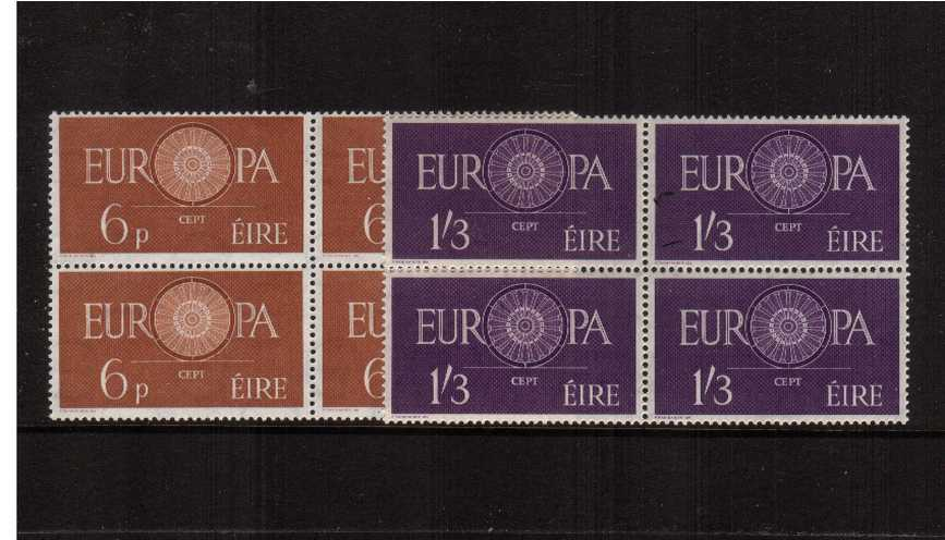 Europa set of two in superb unmounted mint blocks of four