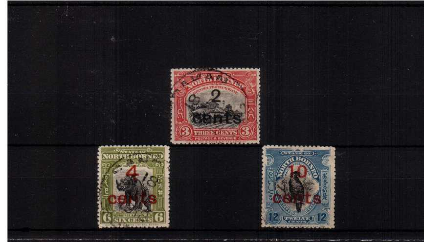 The surcharged set of three superb fine used