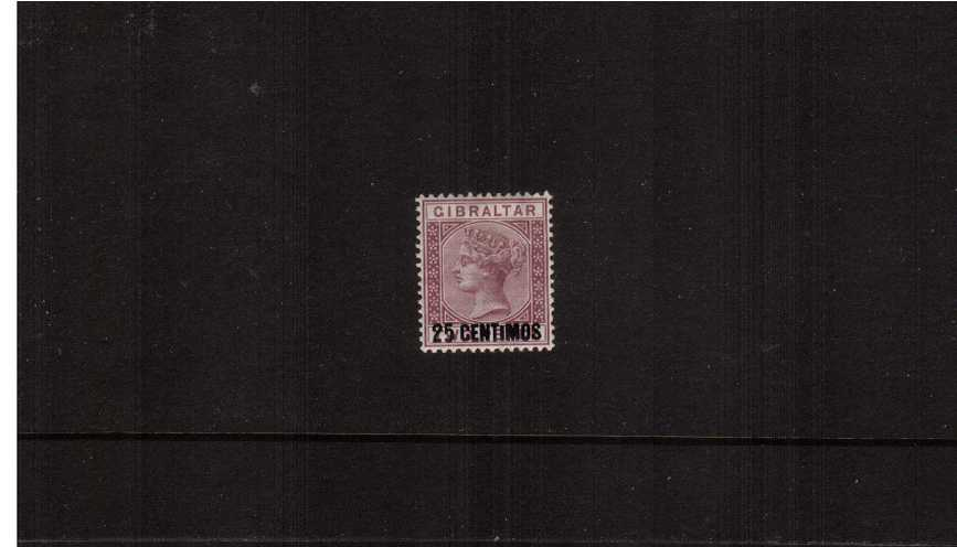 The 25c on 2d Brown-Purple Spanish currency overprint single<br/>showing the SG listed variety ''Small I'' from Row 6/2<br/>A fine lightly mounted mint single.