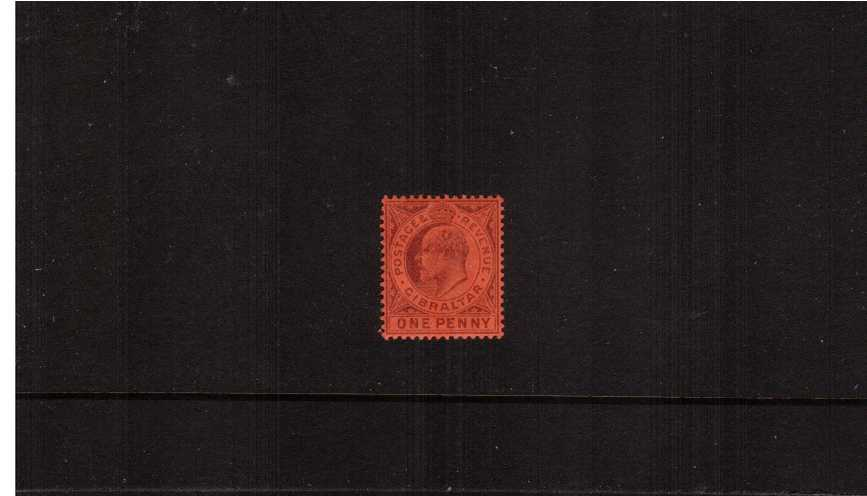 1d Dull Purple on Red - Watermark Crown ''CA'' - A superb very lightly mounted mint single