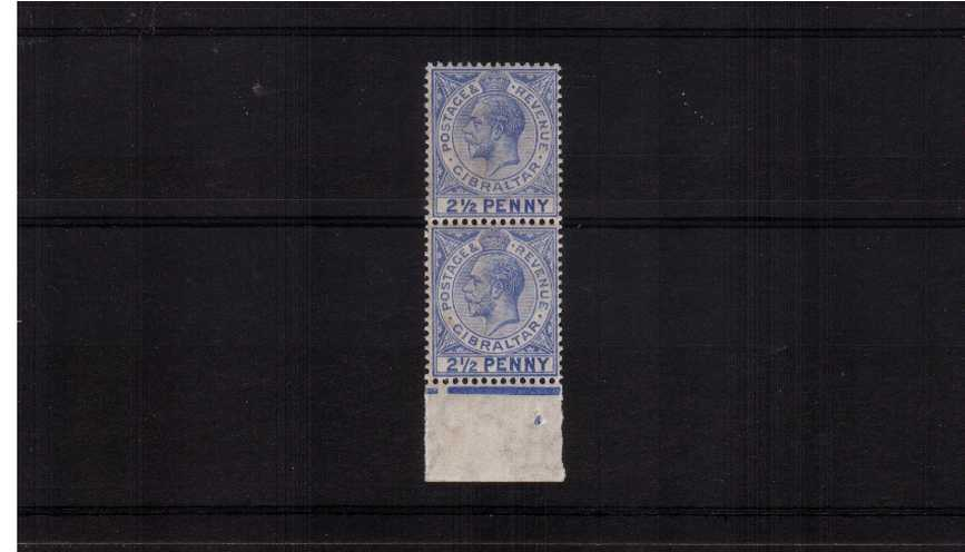 2½d Pale Ultramarine showing the illustrated SG listed variety ''large 2 in 2½d''. A lower marginal vertical pair with feintly toned gum superb unmounted mint showing the variety on the lower stamp.