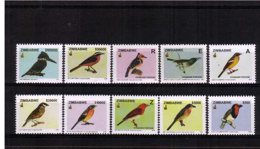 Birds complete definitive set of ten superb unmounted mint. Very scarce set!