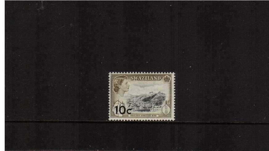 10c on 1/- Black and Deep Olive definitive single superb unmounted mint.