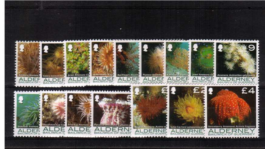 Corals and Anemones set of sixteen superb unmounted mint.