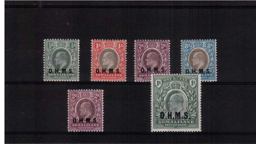The O.H.M.S. overprint set of six each with just a mere trace of a hinge mark. The set includes the 2A on both watermarks. The set is so rare SG do not quote a price for the set!<br/>A gem set! 