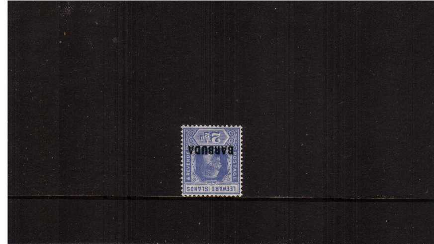 2絛 Bright Blue.<br/>A fine very lightly mounted mint single showing an WATERMARK INVERTED. 