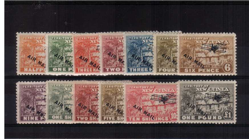 The ''AIRMAIL and AIRCRAFT'' overprint complete set of thirteen fine very lightly mounted mint. 