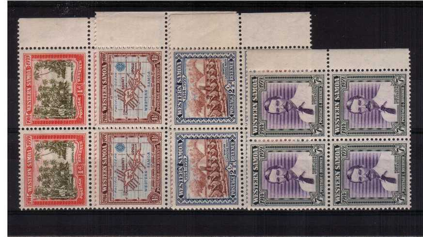 The 25th Anniversary of New Zealand Control</br>The set of four in superb unmounted mint right side marginal blocks of four. 