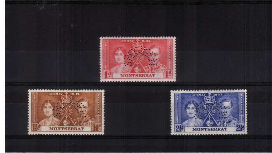 The Coronation set of three perfined ''SPECIMEN'' lightly mounted mint..<br/><b>ZKW</b>