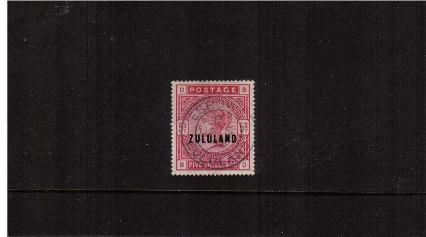 The Great Britain 5/- Rose overprinted ZULULAND cancelled with a central crisp double ring upright CDS for ESHOWE dated JA 5 95. A rare stamp so fine. SG Cat £800 