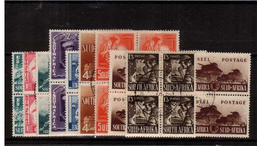 The WAR EFFORT set nine in superb fine used blocks of four each block cancelled with a CDS. Note that the 2d and 1/- is included as a block of four too. SG Cat �0 x2 = �0.00