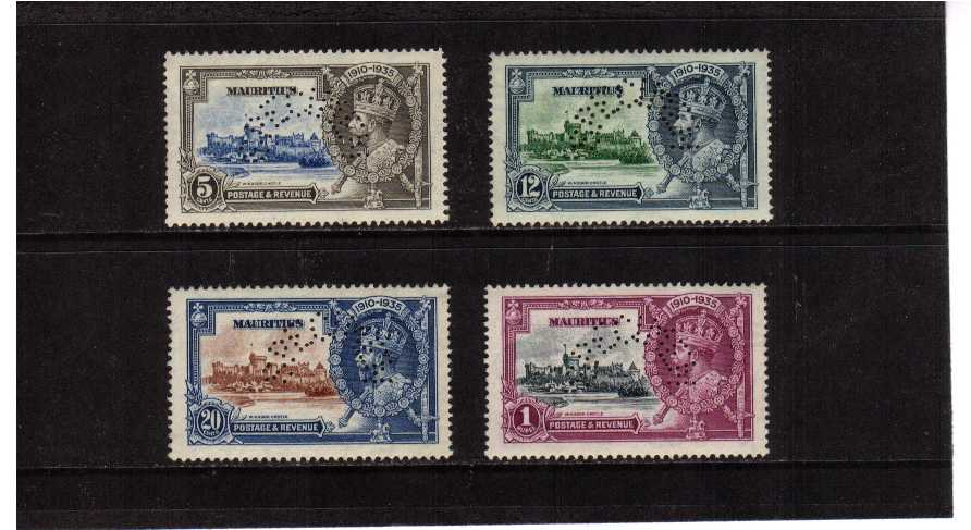 Silver Jubilee set of four perfined ''SPECIMEN'' lightly mounted mint.<br/><b>SEARCH CODE: 1935JUBILEE</b>