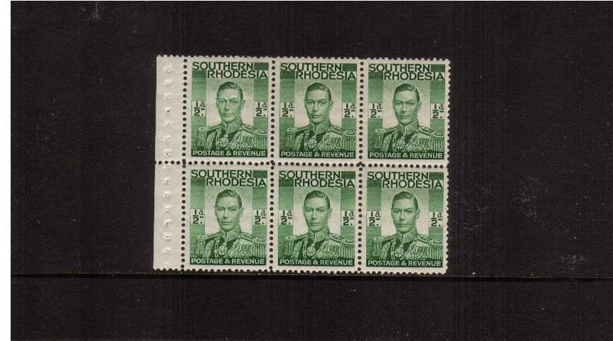 絛 Green very lightly mounted mint booklet pane of six taken from booklet SB4 (catalogued at �0)