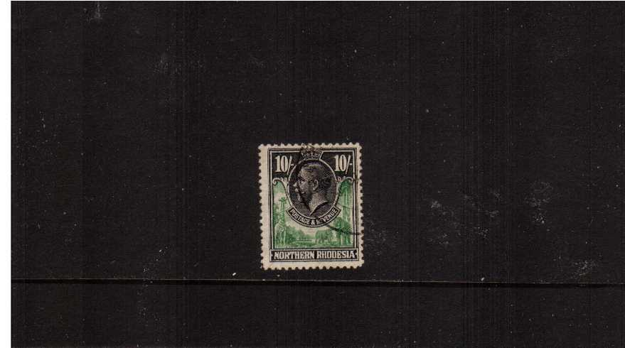 10/- Green and Black<br/>A superb fine used single.<br><b>ZKX</b>
