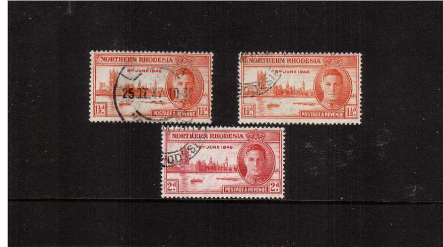 The Victory set of two plus the perforation variety on the 1絛 superb fine used.<br><b>ZKX</b>