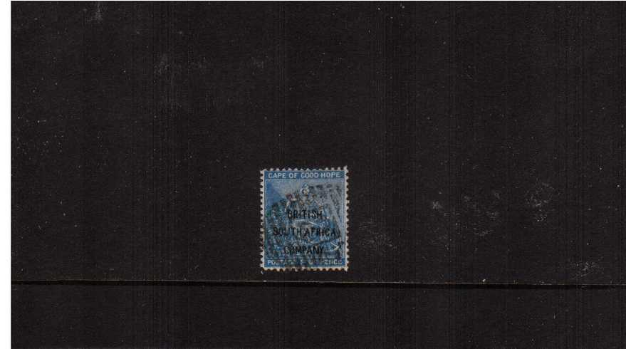 4d Blue with  - FORGED - ''BRITISH SOUTH AFRICA'' overprint good fine used.<br><b>ZKX</b>