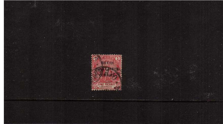 1d Rose-Red with ''BRITISH SOUTH AFRICA'' overprint fine used