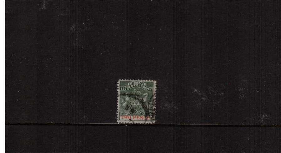 2d Deep Dull Green and Vermilion<br/>On thin wove paper superb fine used.