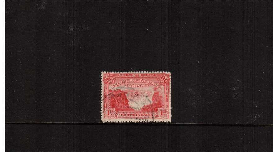 Victoria Falls Bridge 1d Red - Perforation 14<br/>Superb fine used.
