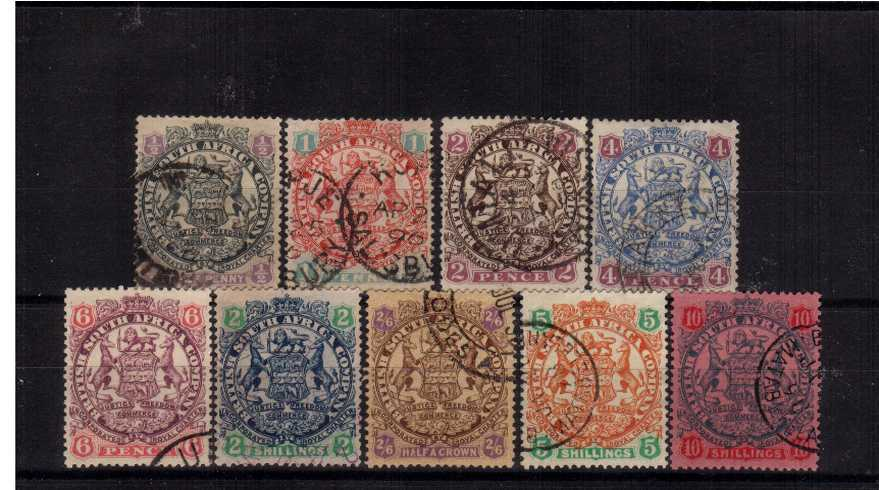 The ''Coat of Arms'' with no dot complete set of nine superb fine used.