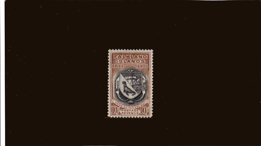 Centenary of British Administration<br/>10/- Black and Chestnut a good mounted mint example with a hint of a very very tiny thin spot in the hinge area mentioned for accuracy. - you will have to look hard to see it! SG Cat £850