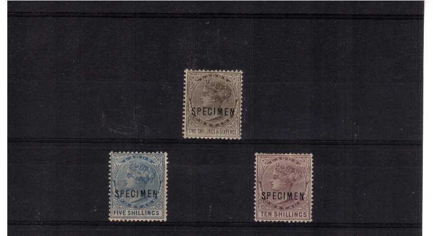 the 1886 set of three high values with odd perforation fault overprinted SPECIMEN. SG Cat �5 A very scarce set!