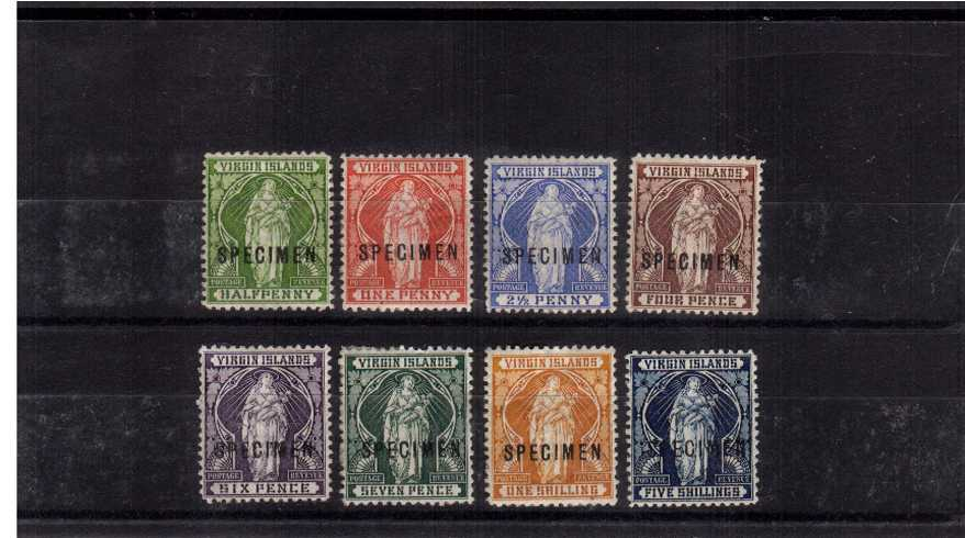 The Virgin set of eight overprinted ''SPECIMEN''. The set is bright and fresh but is a little heavily mounted as can happen with early specimen stamps. 