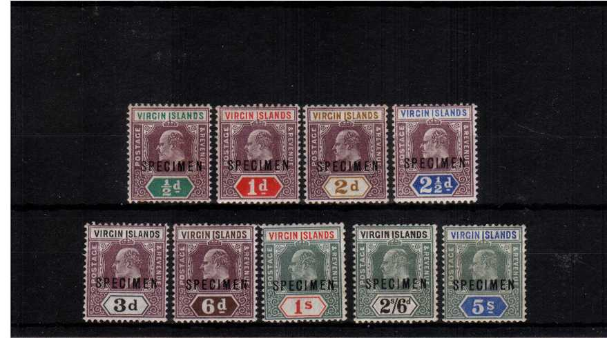 The Edward set of nine overprinted ''SPECIMEN'' lightly mounted mint.