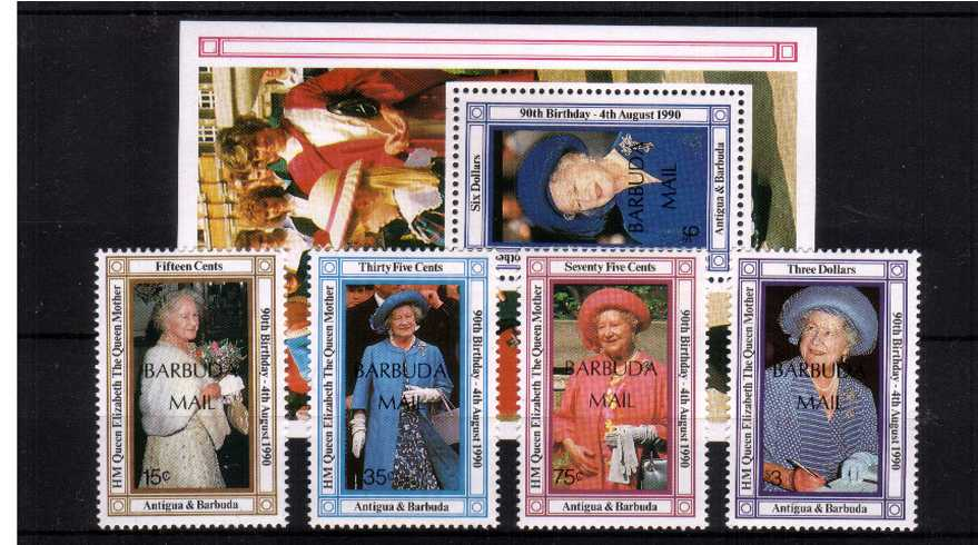 The 90th Birthday of The Queen Mother<br/>A superb unmounted mint set of four plus minisheet.