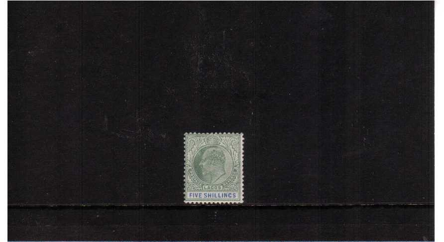 5/- Green and Blue - Watermark Crown CA<br/>