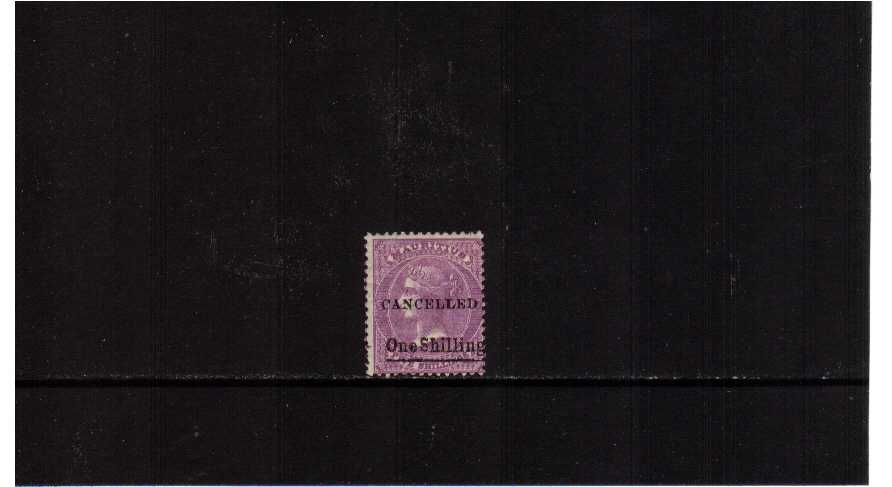 1/- overprinted on 5/- bright Mauve overprinted