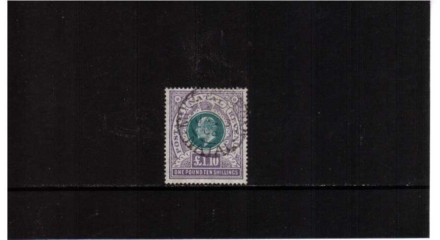 �10/- Green and Violet cancelled with a double ring CDS for NATAL