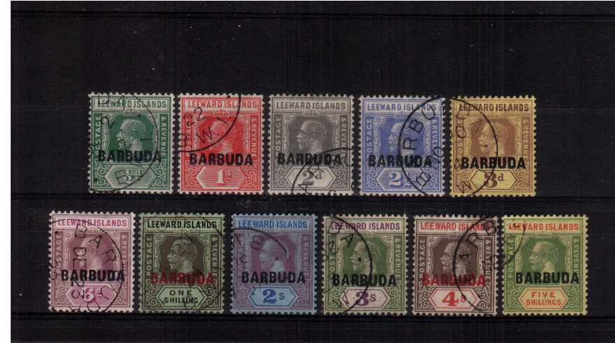 The ''BARBUDA'' overprint on LEEWARD ISLANDS set of eleven superb fine used.