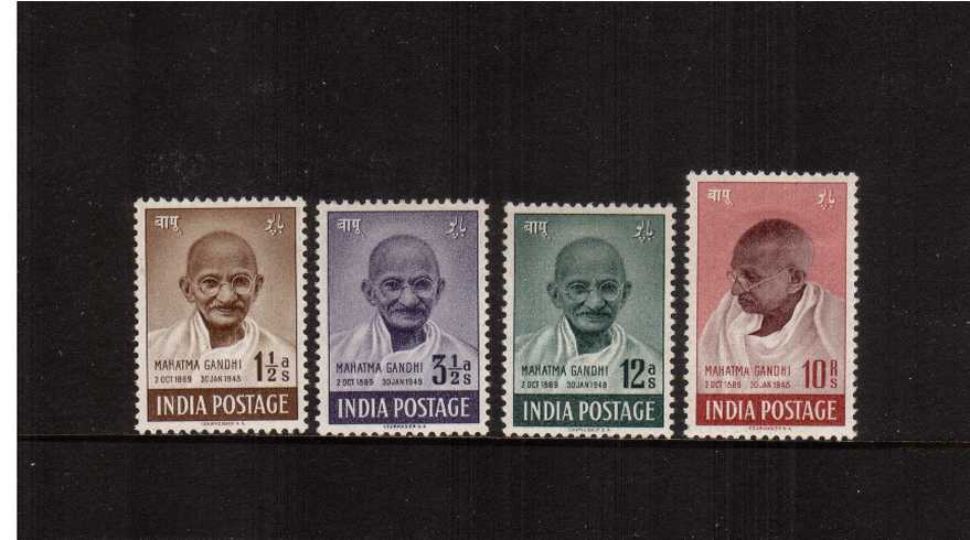 First Anniversary of Independence - Mahatma Gandhi.<br/>A good ''first hinge'' set of four lightly mounted mint. Please note each stamp has a small hinge remainder on back as its too dangerous to remove! These issues are easily damaged!