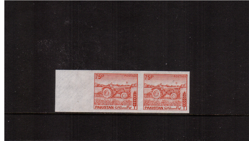 75p Dull Vermilion - Die II on unwatermarked paper with no gum.<br/>A superb left side marginal pair.