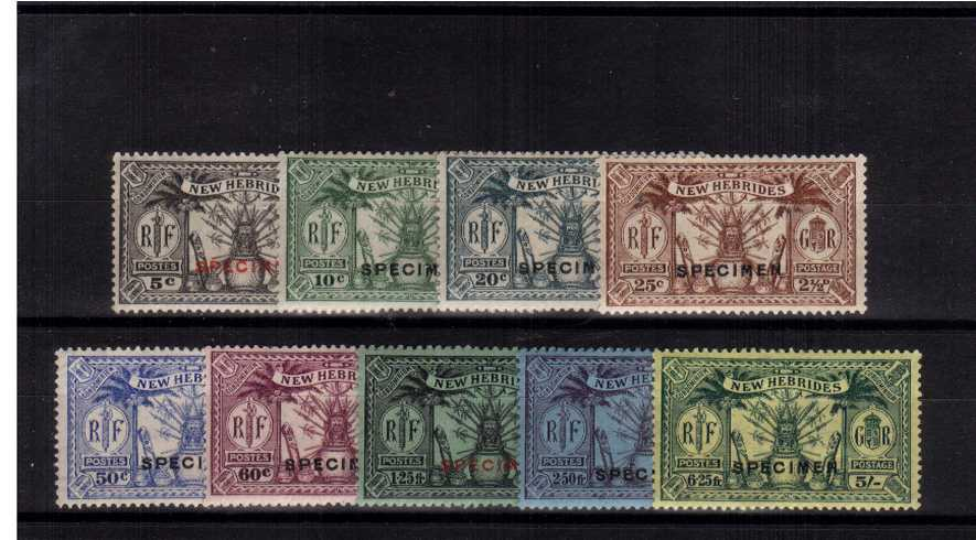 The ''SPECIMEN'' overprint of nine very fine lightly mounted mint.