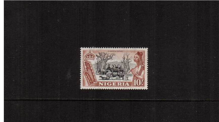 10/- Black and Red-Brown  definitive single superb unmounted mint.