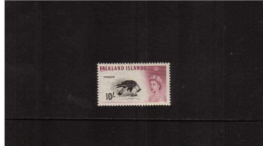 10/- black and purple showing a Carancho bird superb unmounted mint.