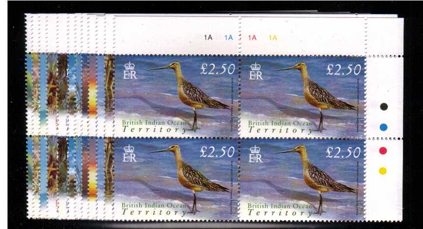 Birds - set of twelve in superb unmounted mint cylinder corner blocks of four.