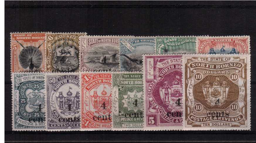 The 4c overprint set of twelve very fine lightly mounted mint. A lovely bright and fresh set in exceptional condition.