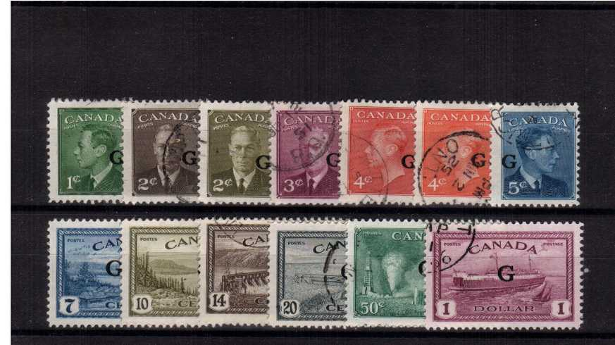 The ''Officials'' set of thirteen with the ''G'' overprint superb fine used. 