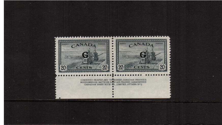 The 20c Slate showing Combine Harvester overprinted  ''G'' for Government superb unmounted mint lower marginal imprint pair (with a trace of hinge on margin) 