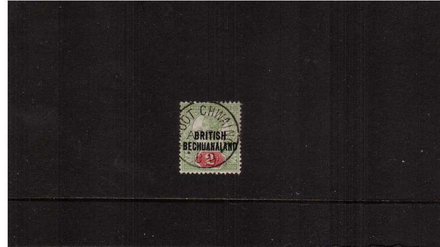 ''BRITISH BECHUANALAND'' overprint on GB 2d Grey-Green and Carmine cancelled with an upright steel CDS for 