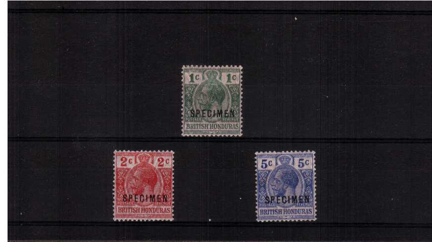 The WAR set of three lightly mounted mint overprinted''SPECIMEN''. Pretty!