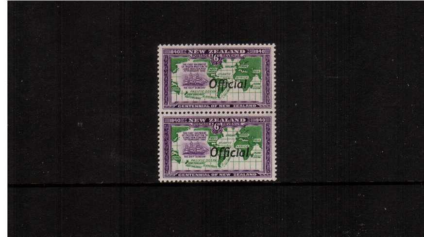 The 6d Centennial ''OFFICIAL'' single showing the joined ''ff'' listed variety on the upper stamp in a vertical pair with normal very, very lightly mounted mint with lower stamp being unmounted. <br/>SG Cat �2.00