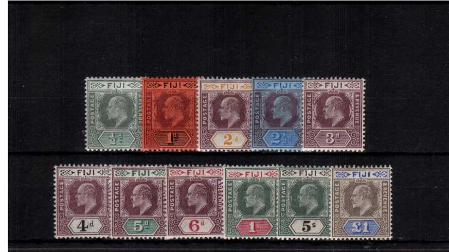 The First Edward VII complete set of eleven in exceptional very lightly mounted mint with just a mere trace of a hinge mark even on the top value. Gem set!