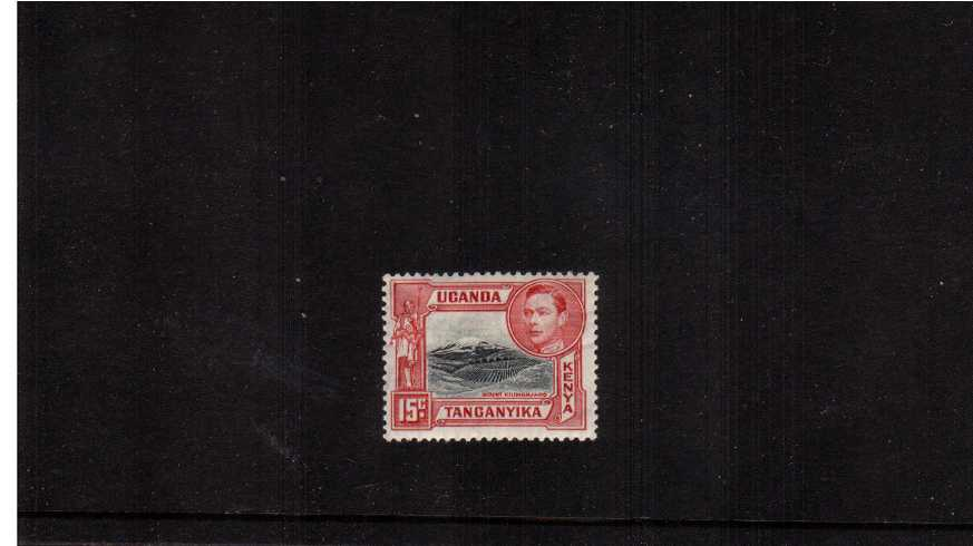 15c Black & Rose-Red - Perforation 13¼.<br/>A fine lightly mounted mint single.