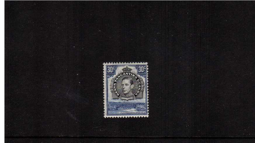 30c Black & Blue definitive single - Perforation 13¼.<br/>A fine lightly mounted mint single